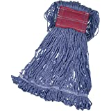 Amazon Basics Loop-End Synthetic Commercial String Mop Head, 5 Inch Headband, Large, Blue, 6-Pack