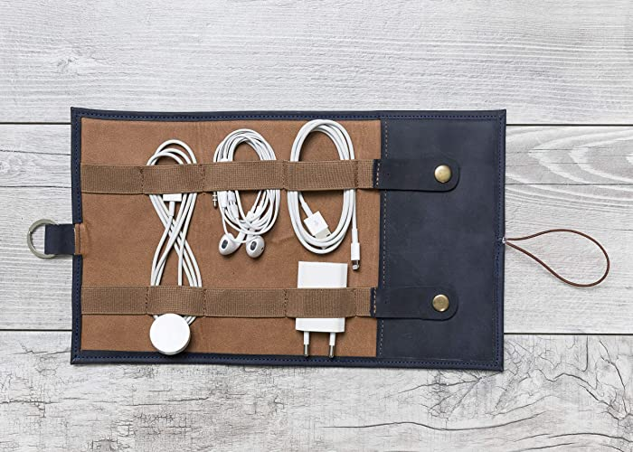 429c94825b66 Amazon.com: Blue Leather Cable Organizer, Cord Organizer, Cable Organizer, Leather  Cable Holder, Personalized Handmade Leather Cord Wrap with Pocket: ...