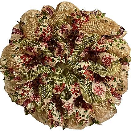 christmas ribbon wreath natural burlap and green deco mesh