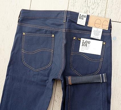 f1ece436 Lee 101 S Jeans Slim Rider 10.25oz Dry Indigo Denim 3x1 Twill White - Grey  Selvage RAW Brut L972PY41 (W32 L32): Amazon.co.uk: Clothing