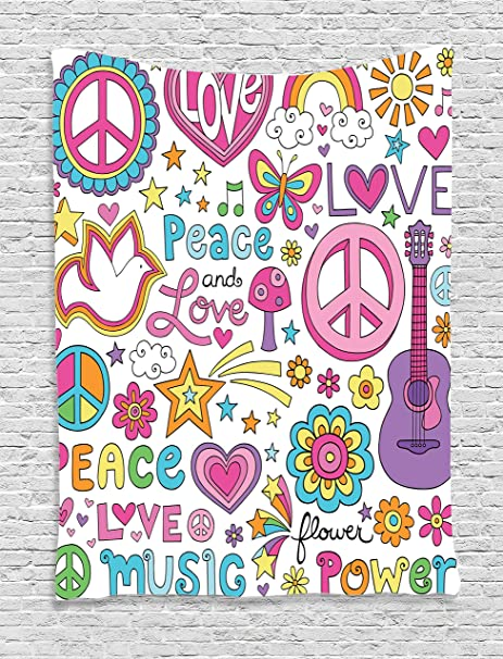 Amazon Ambesonne 60s Decorations Collection Sunlights Sunny New Quotes On Peace And Love