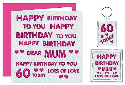 Mamá 60th tarjeta del feliz cumpleaños con regalo - 60 hoy ...
