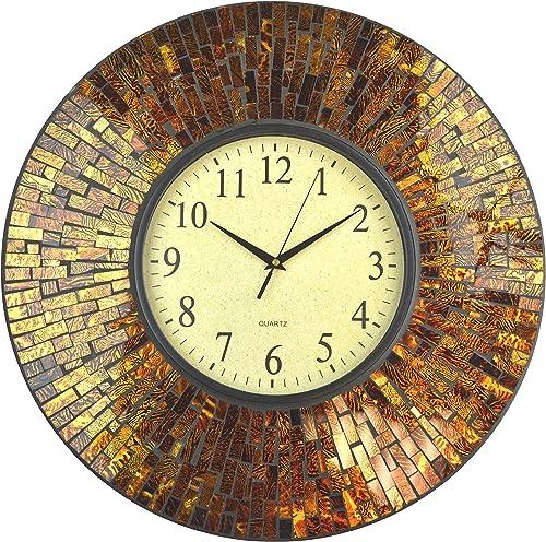 Lulu Decor, 19 Baltic Amber Mosaic Wall Clock with 9.5 Brown Arabic Glass Dial, 4.50 Mosaic Border, Silent Non-Ticking Quartz, Perfect for Housewarming Gift LP72