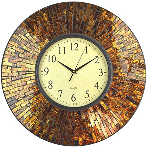 Lulu Decor, 19 Baltic Amber Mosaic Wall Clock with 9.5 Brown Arabic Glass Dial, 4.50 Mosaic Border, Silent Non-Ticking Quartz, Perfect for Housewarming Gift LP72