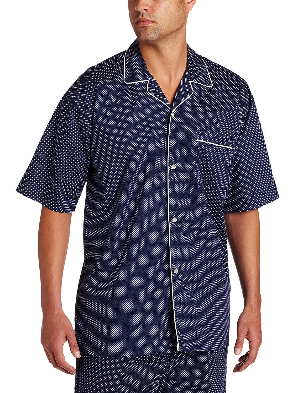 Nautica Men's Woven Dotted Pajama Shirt Peacoat Medium 300165
