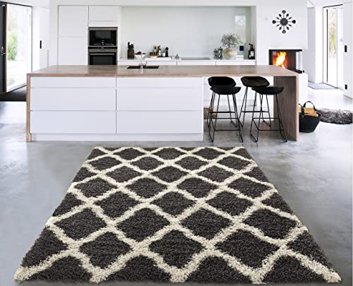 Sweet Home Stores Cozy Shag Collection Charcoal Moroccan Trellis Design Shag Rug Contemporary Living Bedroom Soft Shaggy Area Rug, Grey Cream, 60 L x 84 W
