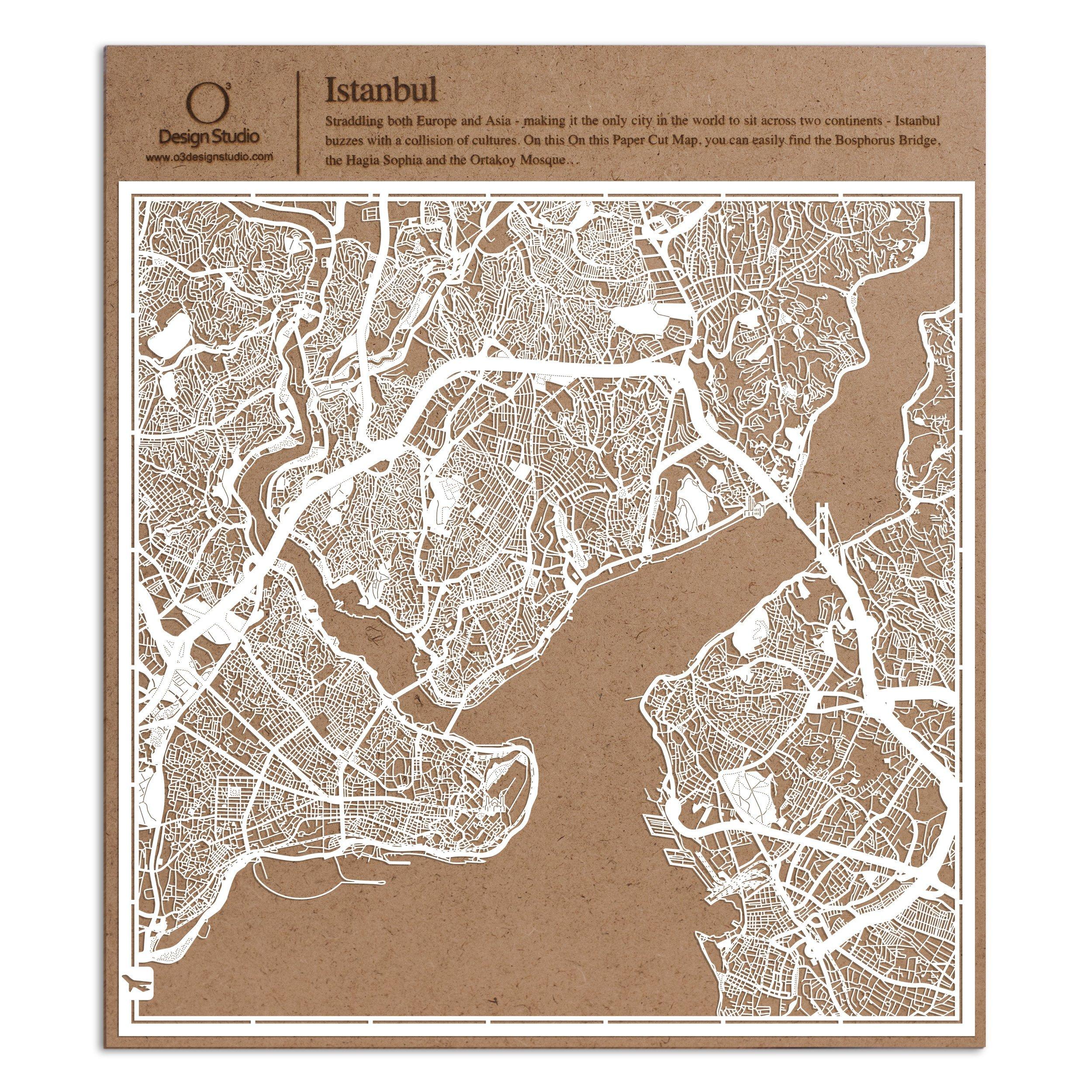 Istanbul Paper Cut Map by O3 Design Studio White 12x12 inches Paper Art