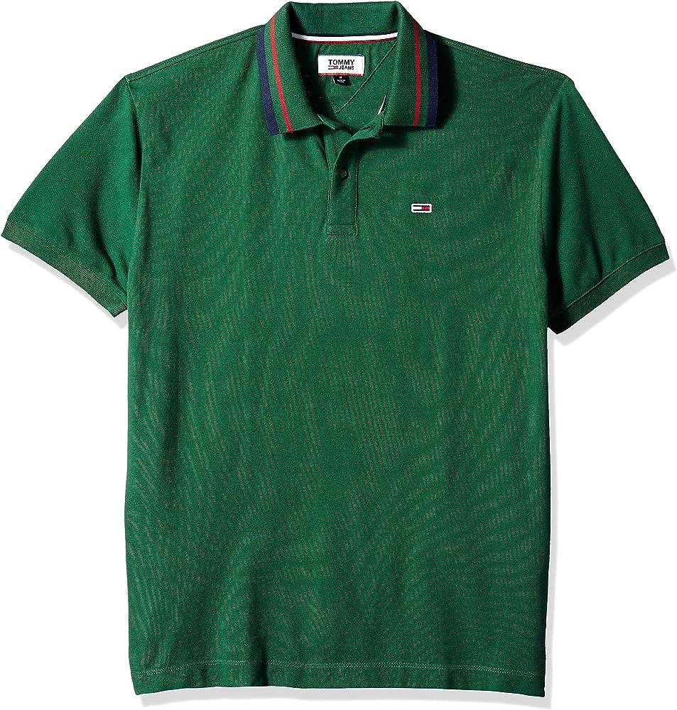 TOMMY HILFIGER Striped Polo Shirt Green Medium