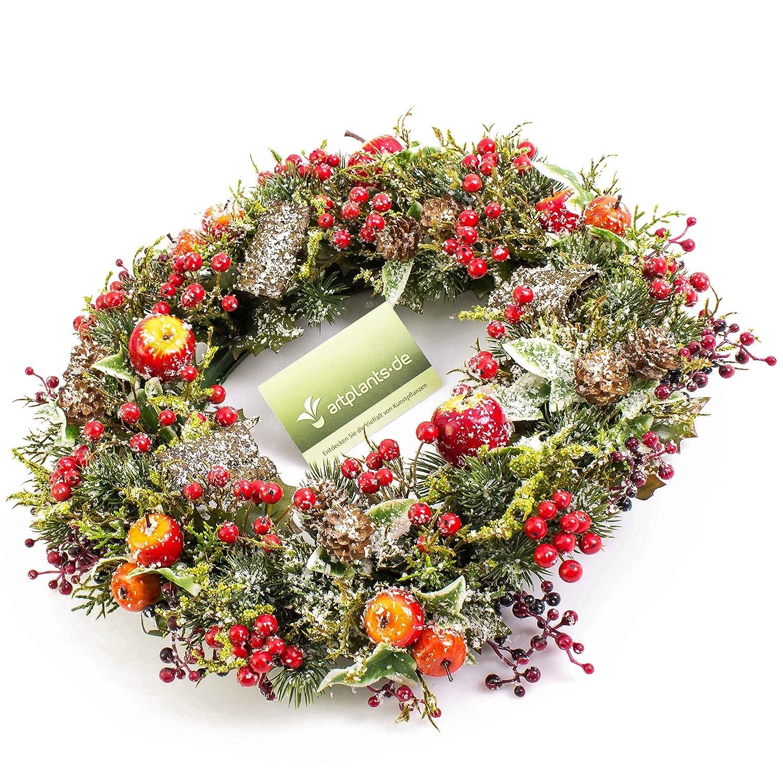 Lierre artplants Couronne hivernale Artificielle avec Pommes enneig/ée Pommes de pin Couronne d/écorative//Couronne de Noel /Ø 35 cm Baies