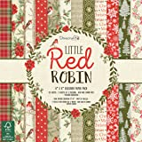 "Dovecraft Christmas 2018 Collection - Little Red Robin Paper Pack 8""x8"" (FSC)"