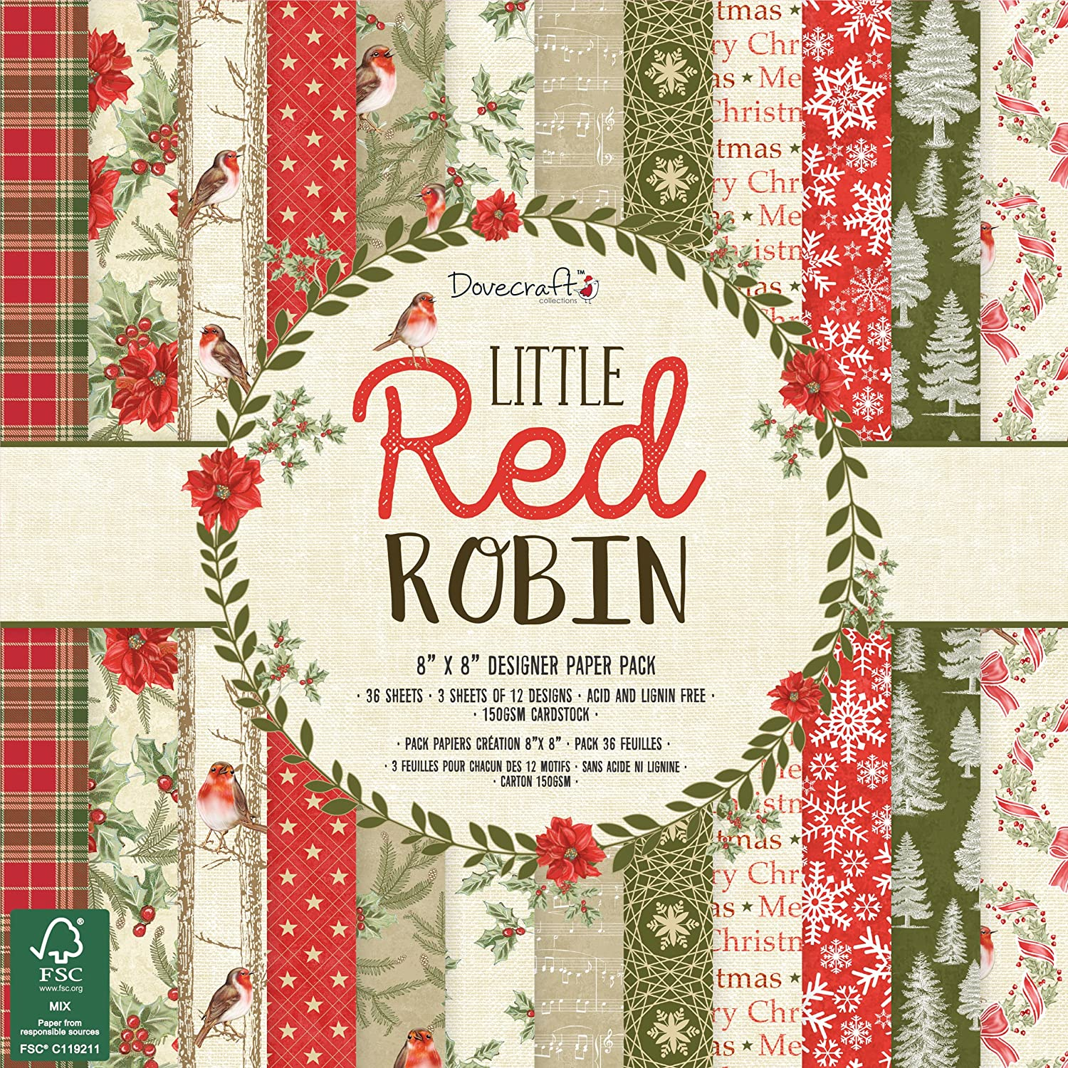 Dovecraft Christmas 2018 Collection Little Red Robin Paper Pack 8
