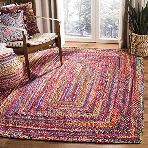 Safavieh Braided Collection BRD210A Handwoven Red and Multicolored Area Rug 3 x 5