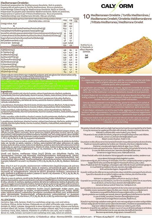 CALYFORM Tortita Proteica para dieta sabor Tortilla Mediterránea saciante | Proteína en Polvo para dieta proteica de calidad y aporte en aminoácidos ...