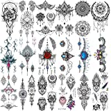 Yezunir 18 Sheets Sexy Black Henna Pendants Temporary Tattoos For Women Lace Hanna Lotus Mandala Mehndi Fake Jewelry Tattoos