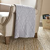Amazon Brand – Stone & Beam Modern Heathered Cable-Knit Throw Blanket - 60 x 50 Inch, Grey