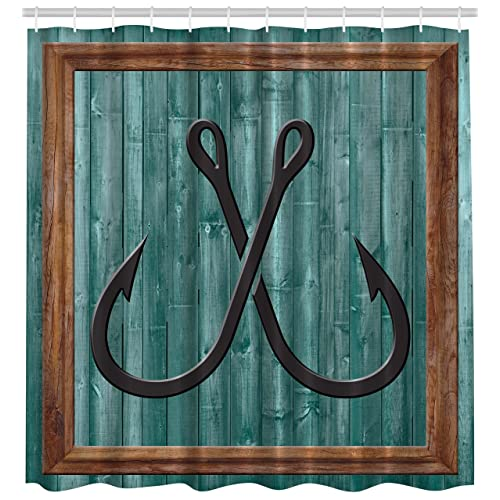 Ambesonne Nautical Shower Curtain Fish By Fishing Lures Anchor Modern Abstract Painting Symbol Wooden