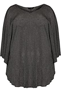 Yours Clothing Women/'s Plus Size Size Up Navy Jersey Cape Top