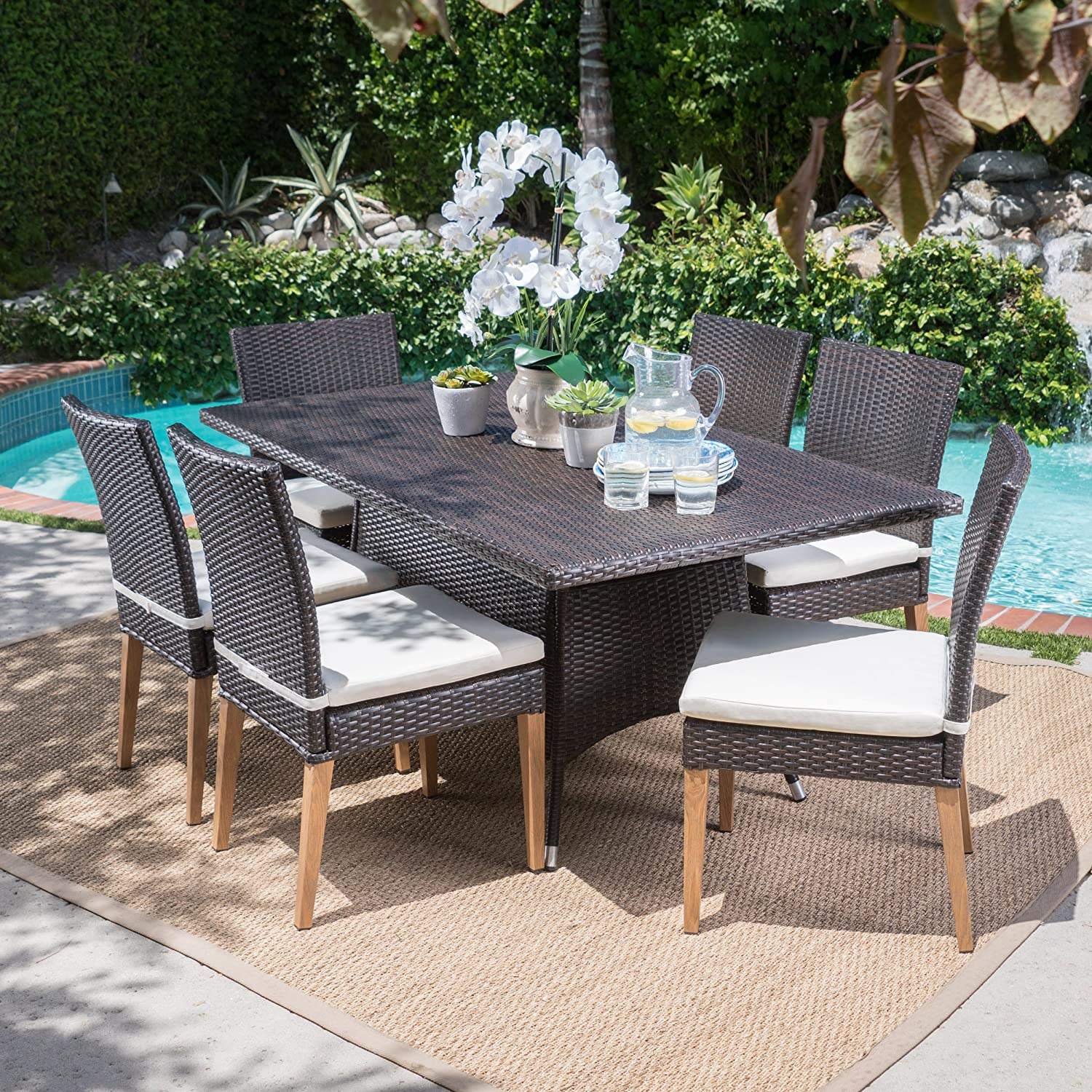 Christopher Knight Home Santa Monica Outdoor Rectangular 7 Piece Multibrown Wicker Dining Set with Beige Water Resistant Cushions