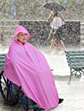 AdirMed Wheelchair Waterproof Poncho With Hood - Rain Protection Cape - Water & Tear Resistant Polyester Cover - Over Knee Coverage - Secure Neck Closure - One Size Fits all - Pink