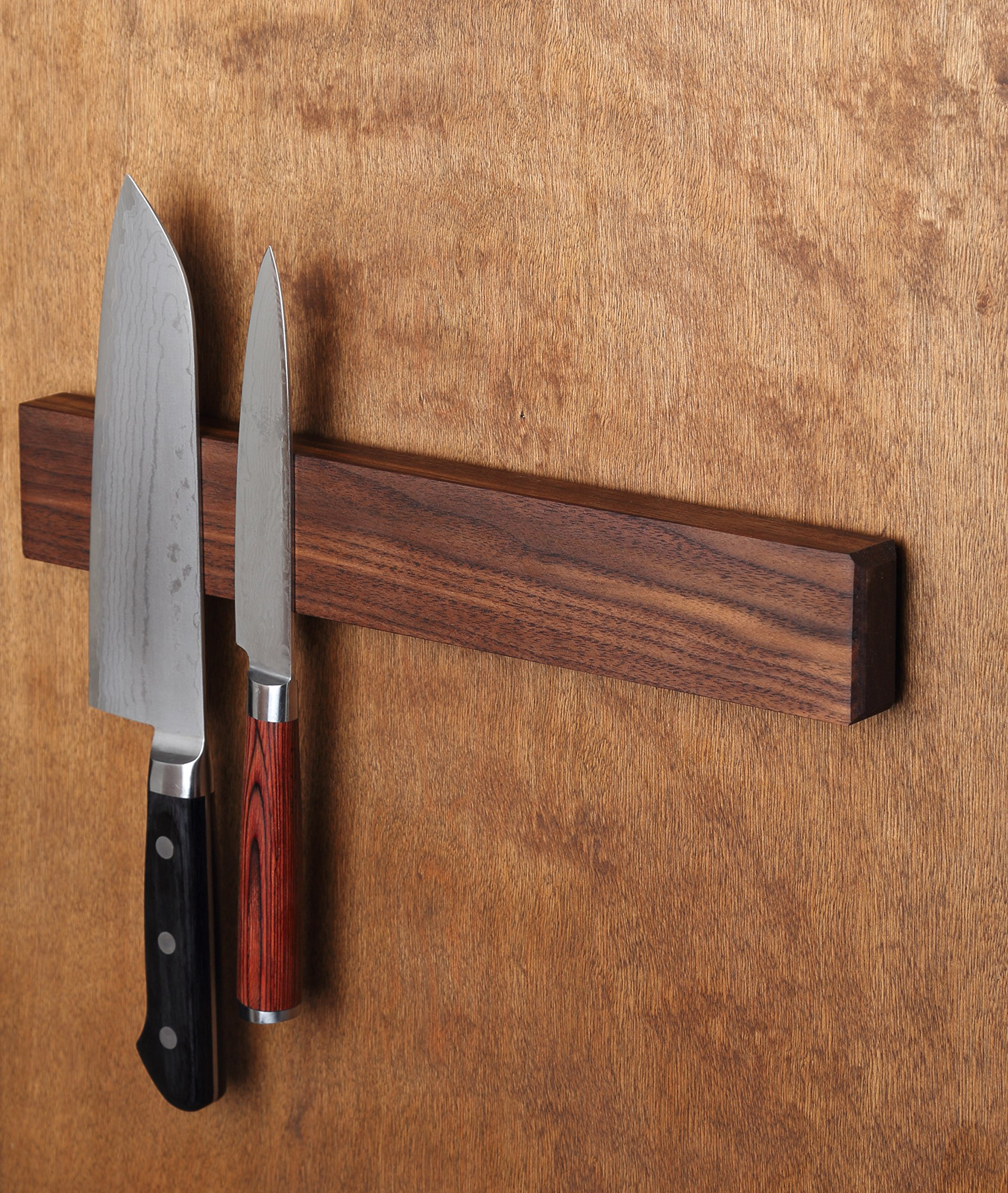 Walnut Magnetic Knife Holder with Multi Purpose Functionality as Knife Magnet, Knife Strip, Magnetic Organizer- Securely Holds Your Knives & Keeps Your Kitchen Organized- Made in USA- 12 Inch by Kurouto Kitchenware (Image #3)