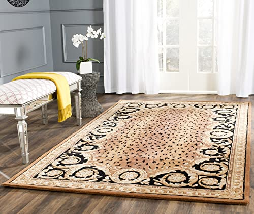Safavieh Naples Collection NA712A Handmade Black and Gold Wool Area Rug, 4 feet by 6 feet 4 x 6