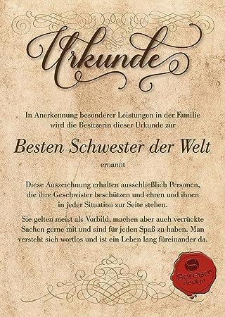 Urkunde für die Beste Schwester der Welt : Geschenkkarte zum ...