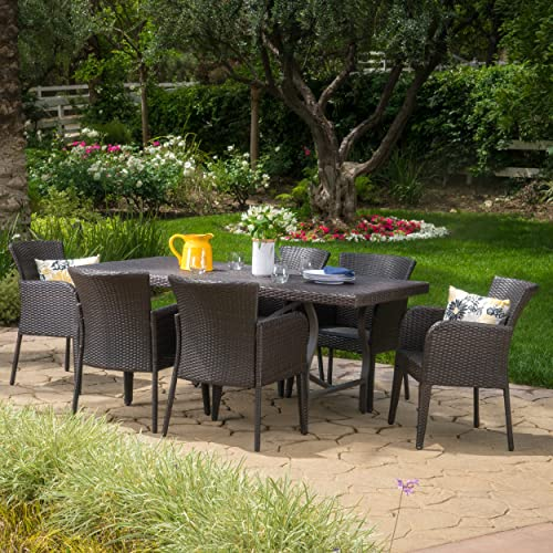 Christopher Knight Home Cozumel 7-Piece Wicker Outdoor Dining Set Perfect for Patio in Multi-Brown