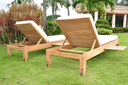TeakStation Sunbrella Fabric Custom Made Outdoor Cushions for Atnas Chaise Lounger – Cushions Only TSCHATCS
