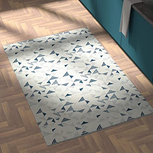 Rivet Modern Geometric Triangle Wool Area Rug, 4 x 6 Foot, Blue Ivory