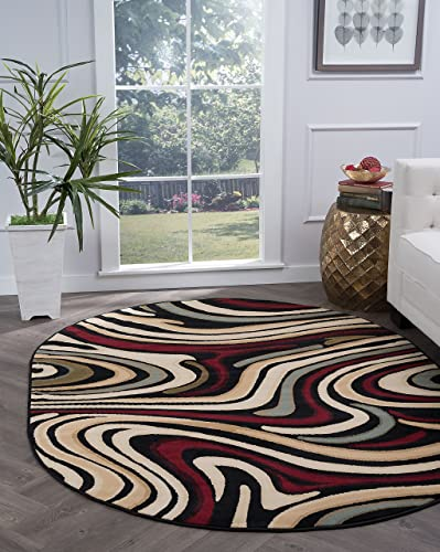 Riverside Contemporary Abstract Black Oval Area Rug, 5 x 7 Oval