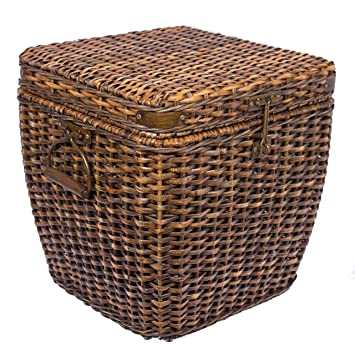 Bon BirdRock Home Rattan Peel Storage Cube | Removable Lid | Spacious Interior  Basket | Organizer Bin