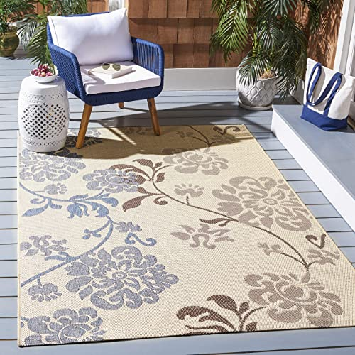 Safavieh Courtyard Collection CY4027B Natural Brown and Blue Indoor Outdoor Area Rug 8 x 11