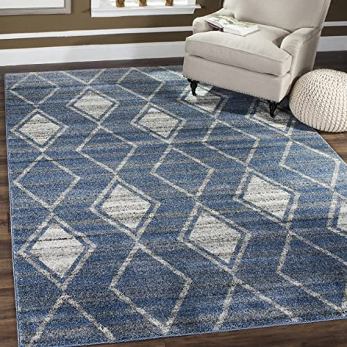 Safavieh Tunisia Collection and Cream Area Rug, 3 x 5 , Light Blue