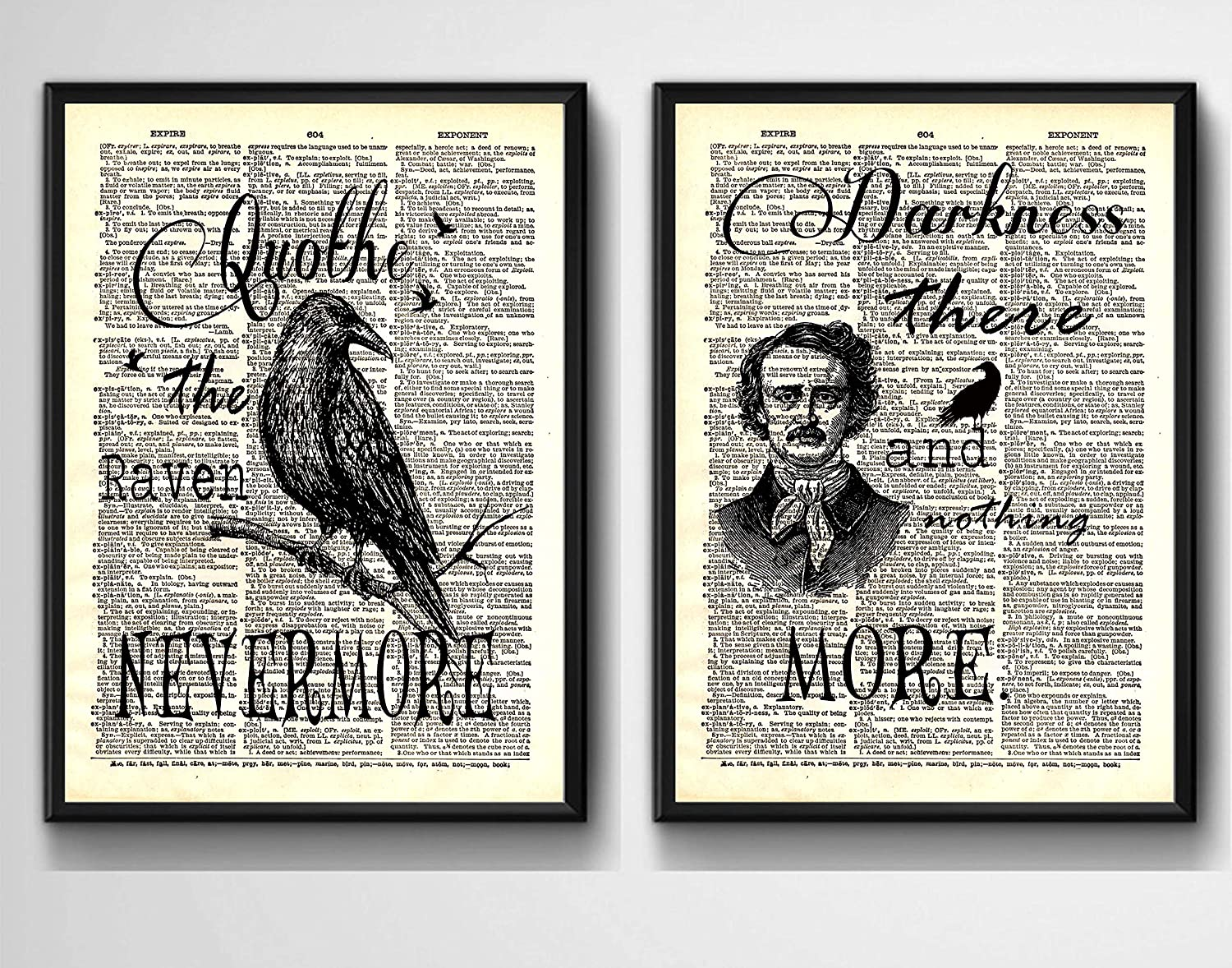 UNFRAMED 8 X 10 inches Gift For Poe Fans Under $15.00 Edgar Allan Poe Quotes on Upcycled Vintage Dictionary Art Print Quotes and Sayings Print
