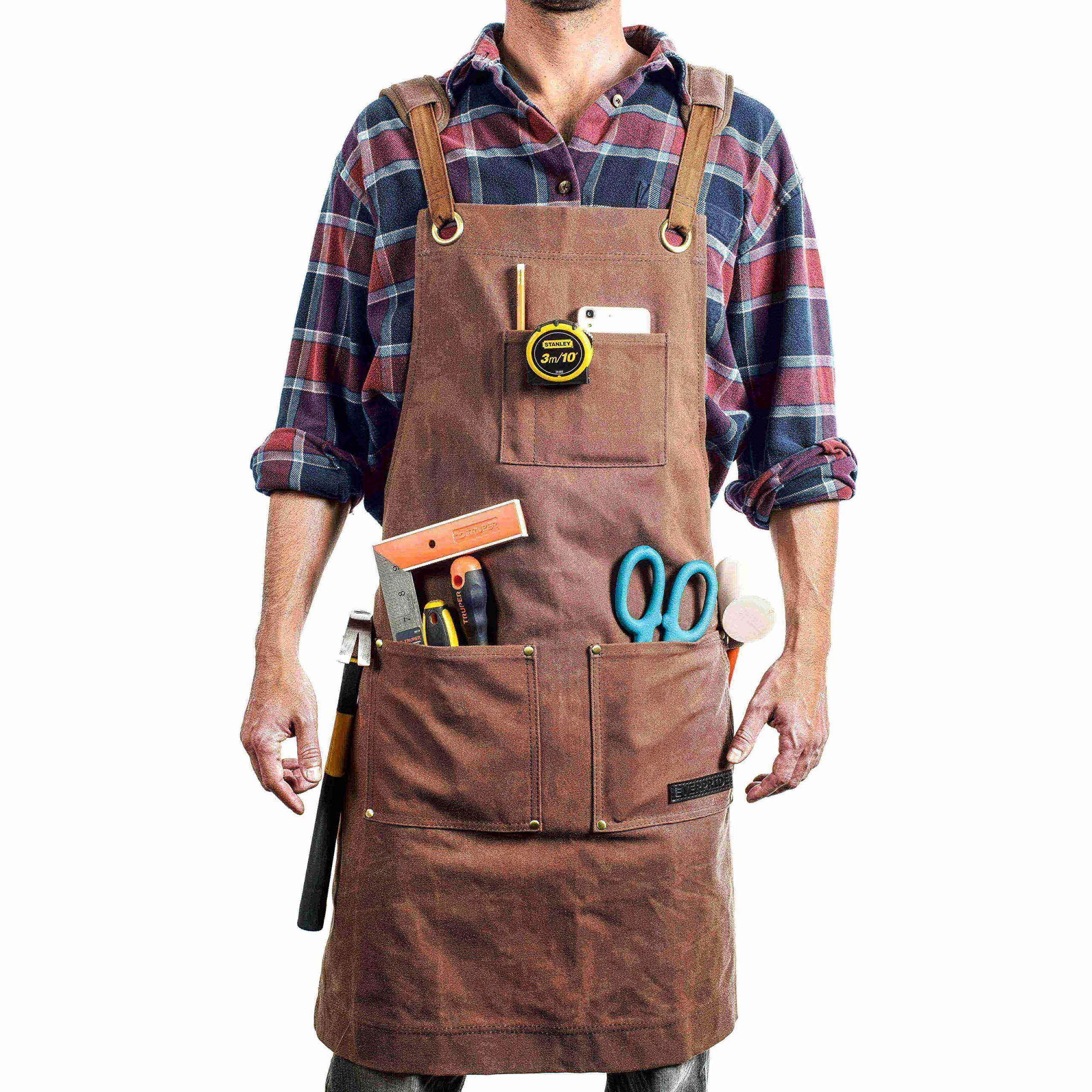 EVERPRIDE Waxed Canvas Apron (Heavy-Duty) All-Purpose Woodworking & Utility Coverall for Men & Women | Reinforced Straps, Multiple Pockets | Adjustable Up To XXL | Waterproof & Durable by EVERPRIDE