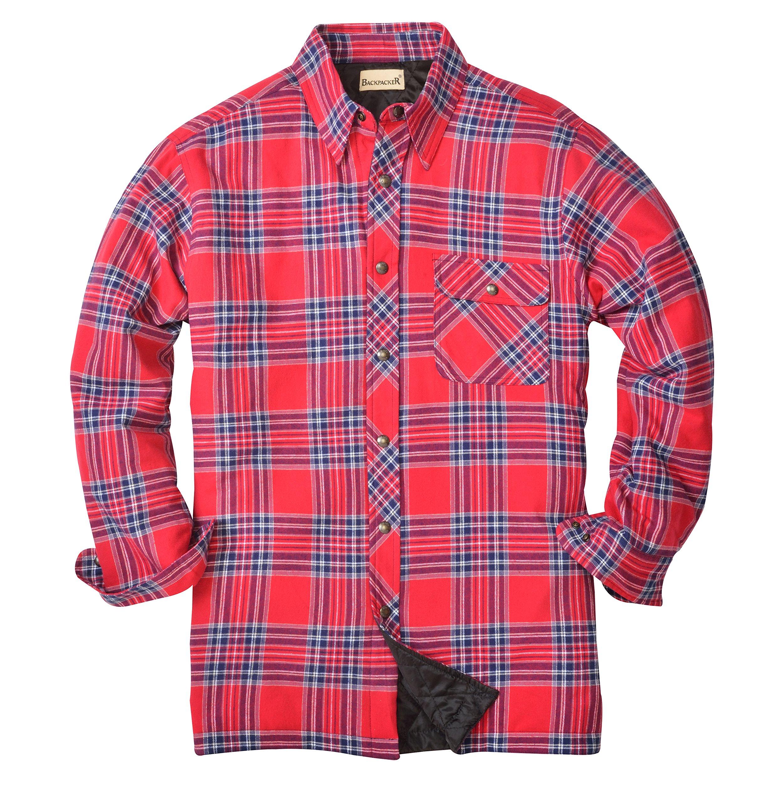 Backpacker Men's Flannel/Quilt Lined Shirt Jacket, Blue/Stuart, X-Large by Backpacker