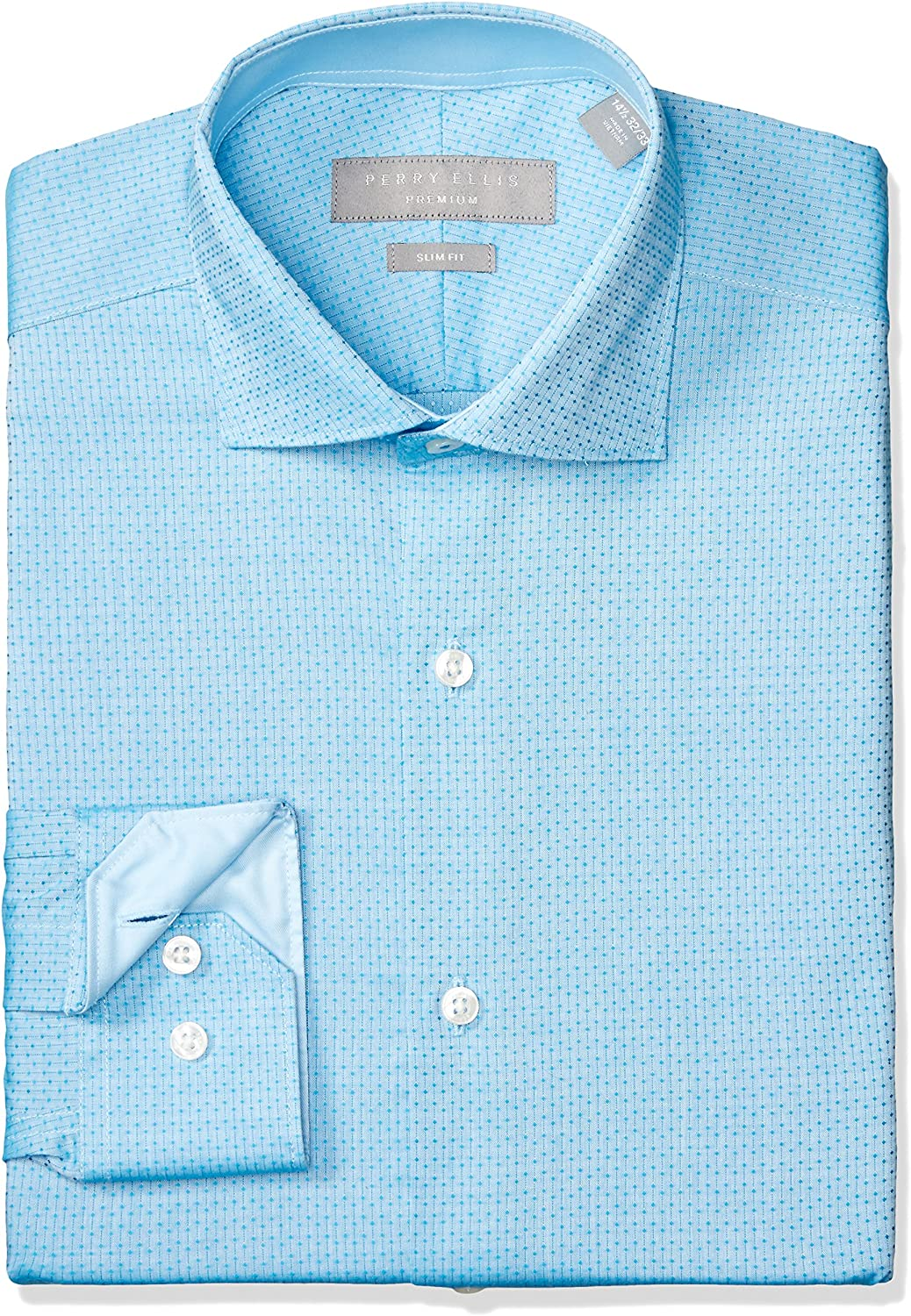 Perry Ellis Mens Slim Fit Non-Iron Cotton Dress Shirt