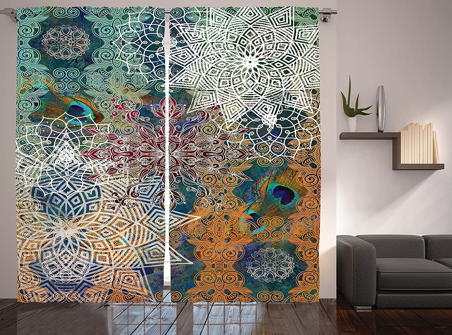Curtains Bohemian Yoga Decor By Ambesonne Medallion Damask Star Patchwork Octagon Peacock Feather Living Room Bedroom Curtain 2 Panels Set 108 X 90