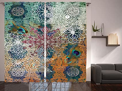 Exceptional Ambesonne Hippie Curtains Bohemian Yoga Decor By, Medallion Damask Star  Patchwork Octagon Peacock Feather,