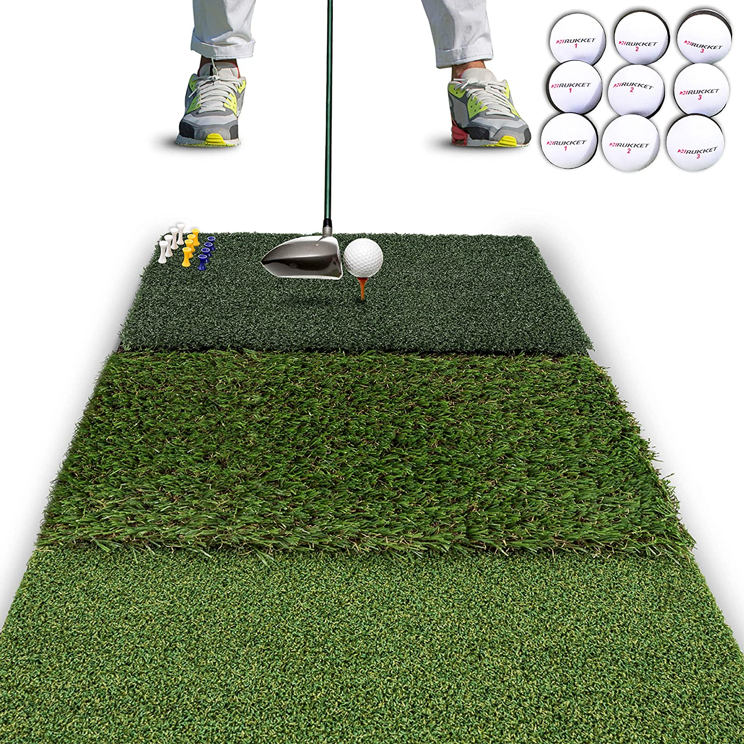 Rukket Tri-Turf Golf Hitting Mat Attack   Portable Driving, Chipping, Training Aids for Backyard with Adjustable Tees and Foam Practice Balls