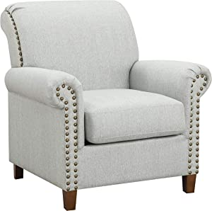 "Ravenna Home Rolled Arm Nailhead Accent Chair, 35""W, Light Grey"