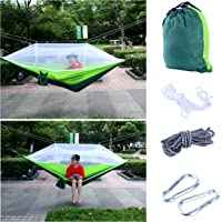 YaeTact Outdoor Hammock Nylon and Free Tree Straps Set with Mosquito Net- Double Hammock, Suitable for Camping and Travel, Camping Outdoor Bed
