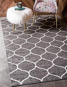 Unique Loom Trellis Frieze Collection Lattice Moroccan Geometric Modern Dark Gray Area Rug (3' 3 x 5' 3)