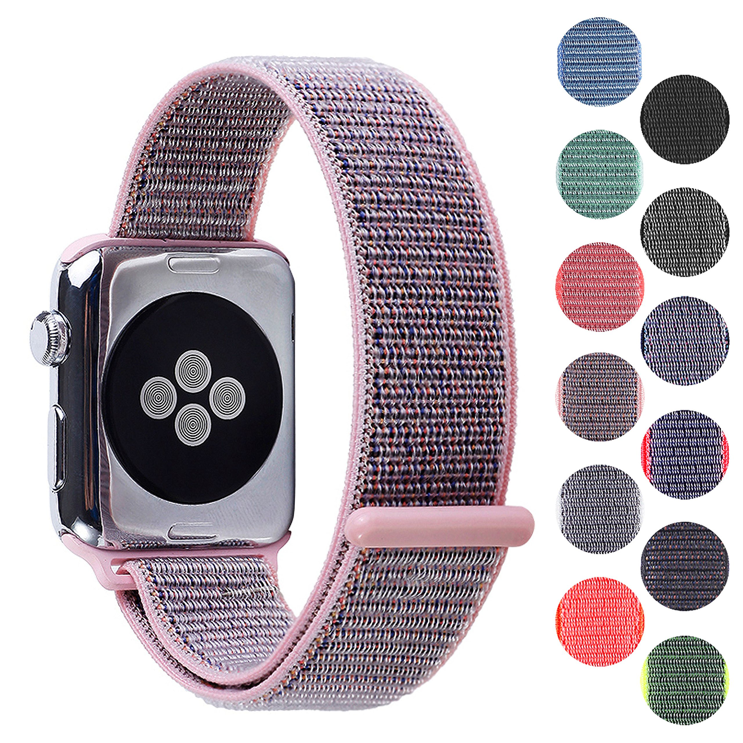 Pantheon Woven Nylon Replacement Apple Watch Band by, Sport Loop Edition, For Men or Women, Strap fits the 38mm or 42mm Apple iWatch, Compatible Series 1, 2, 3, Nike … (Light Pink, 38mm) by Pantheon (Image #1)