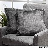 Ellison Dark Grey Decorative Faux Fur Fabric Throw Pillow (Set of 2)