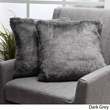 GDF Studio Ellison Dark Grey Decorative Faux Fur Fabric Throw Pillow (Set of 2) | Ideal for The Living Room or Bedroom | Plush Texture