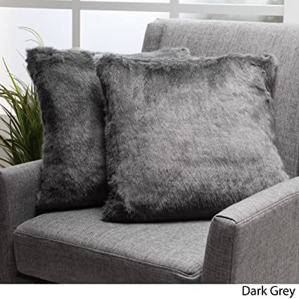 Amazoncom Ellison Dark Grey Decorative Faux Fur Fabric Throw