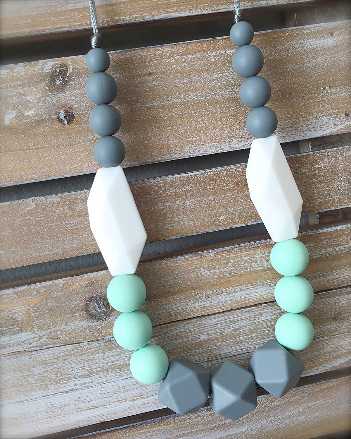 fiddle beads breastfeeding necklace teething jewellery mint green Flower Silicone Teething Necklace in Sweetie Pie pink