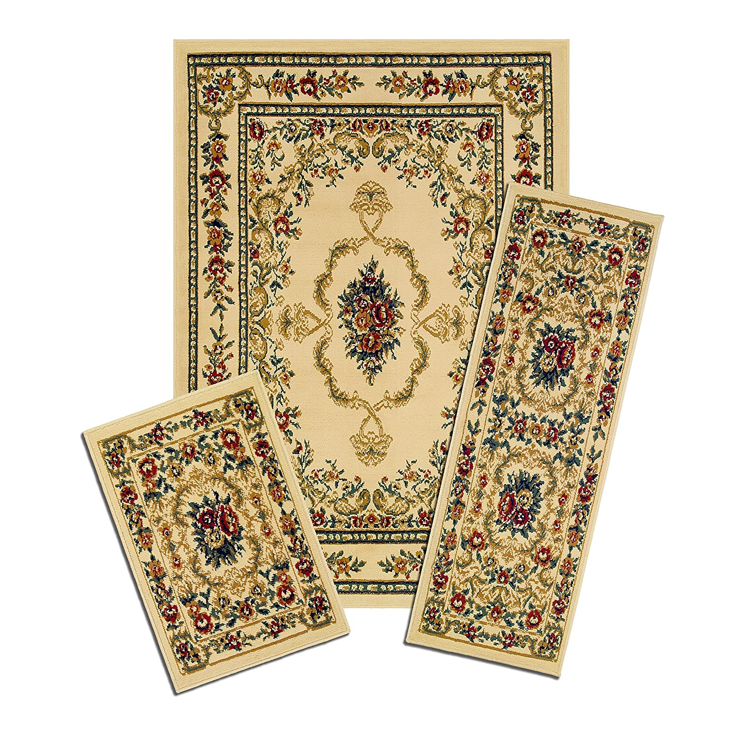 Achim Home Furnishings Capri Rug Set, Savonnerie, 3-Piece, White Achim Imports X470/372-W