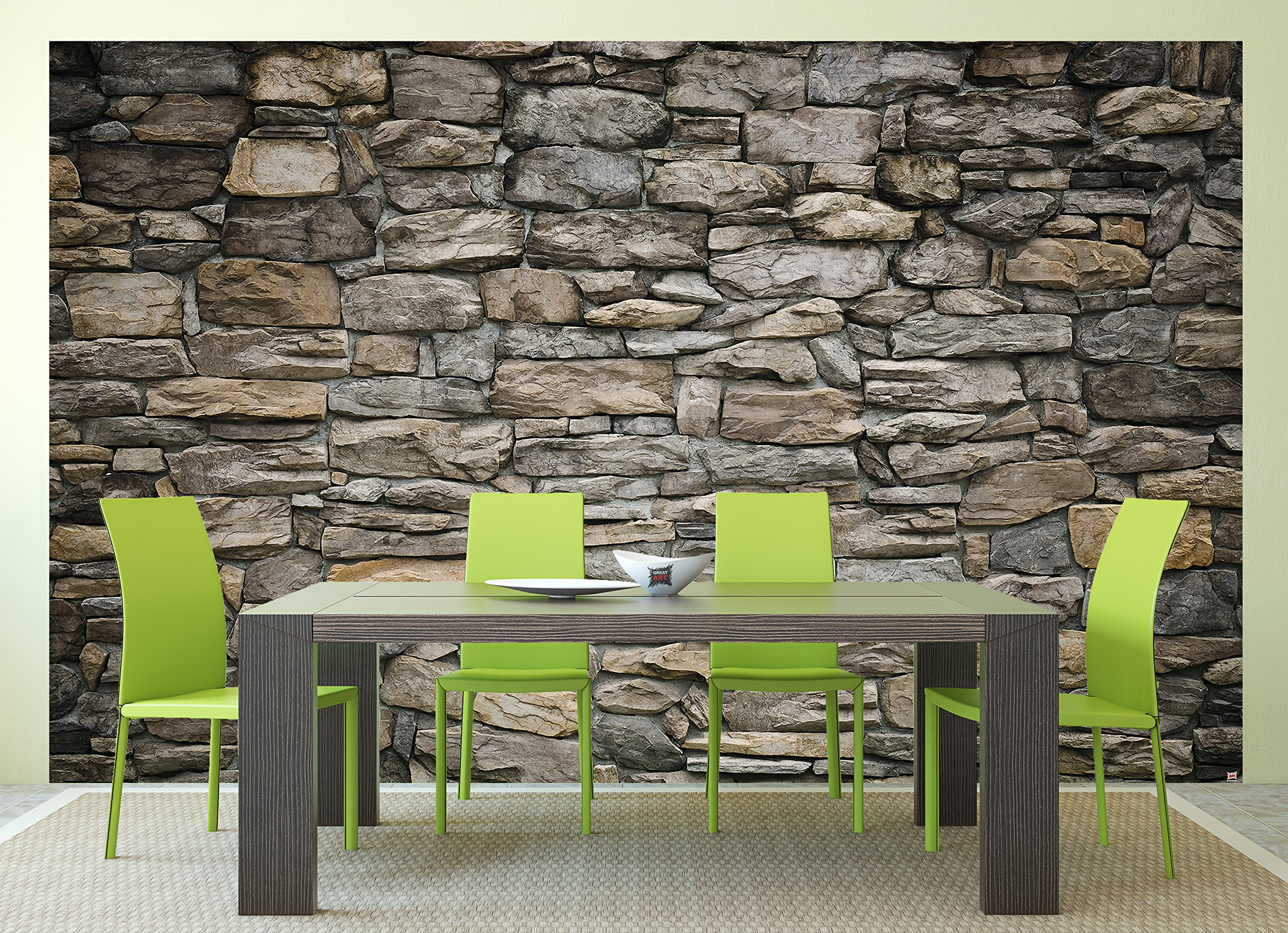 GREAT ART Wall Mural - Grey Stonewal - Wall Decoration Stones Poster Rock 3D Optic Stone Pattern Slate Industrial Design Wallpaper (132.3 Inch x 93.7 Inch / 336 x 238 Centimeter) by Great Art